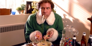 Will Farrell in Elf - enjoying the four food groups.